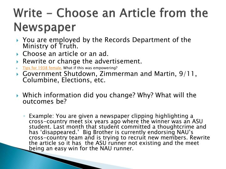 Write - Choose an Article from the Newspaper