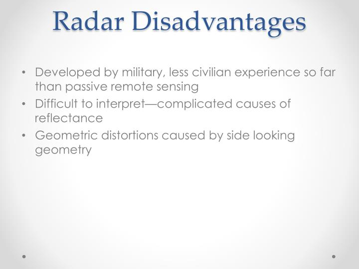 Radar Disadvantages