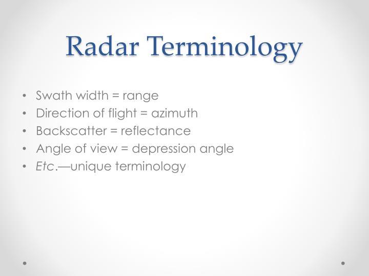 Radar Terminology