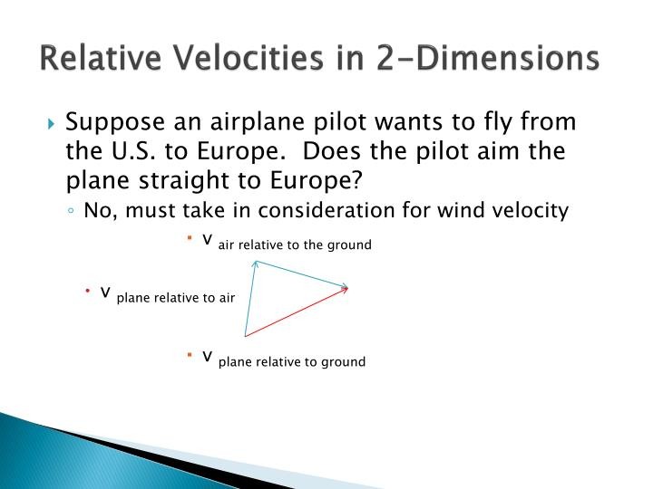 Relative Velocities in 2-Dimensions