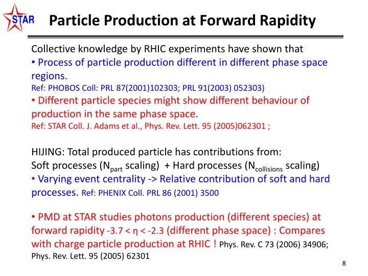 Particle Production at Forward Rapidity