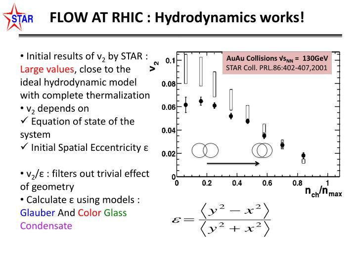 FLOW AT RHIC : Hydrodynamics works!