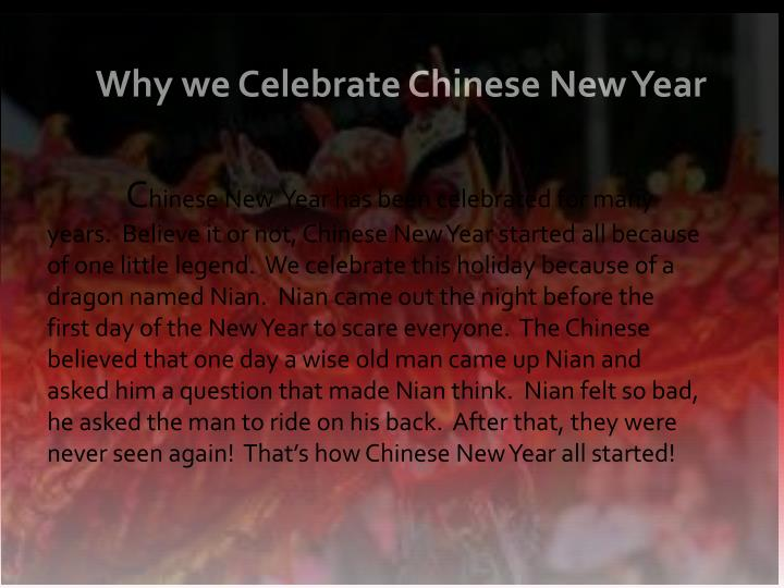Why we celebrate chinese new year