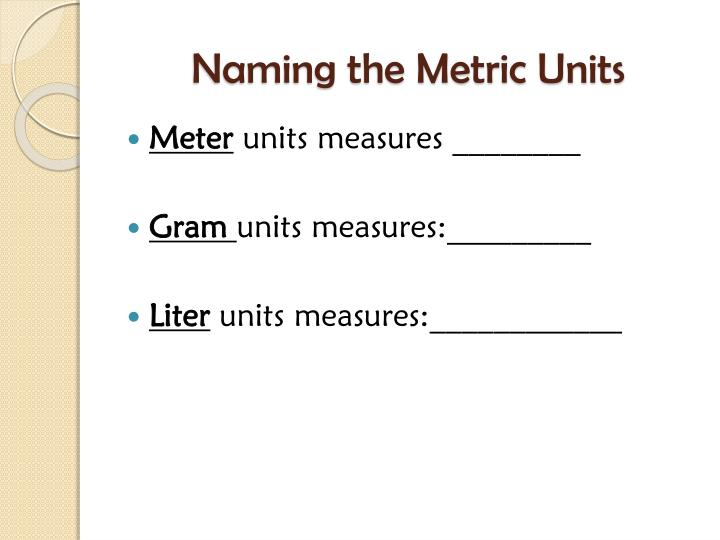 Naming the Metric Units
