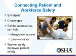 connecting patient and workforce safety