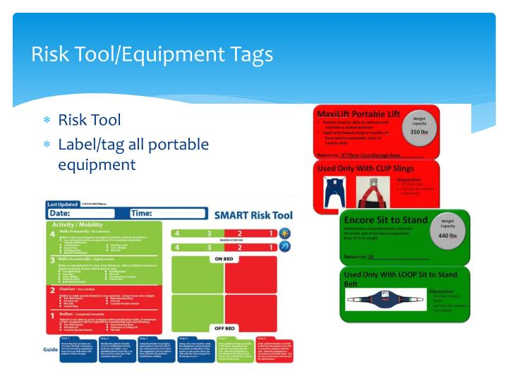 Risk Tool/Equipment Tags
