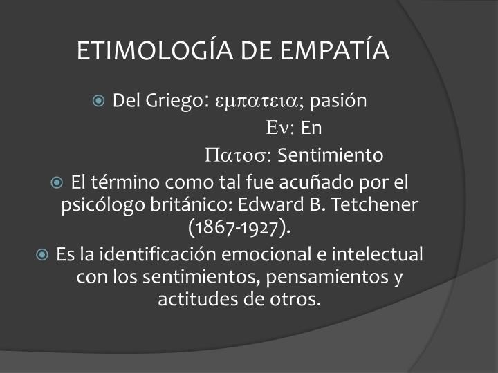 ETIMOLOGÍA DE EMPATÍA