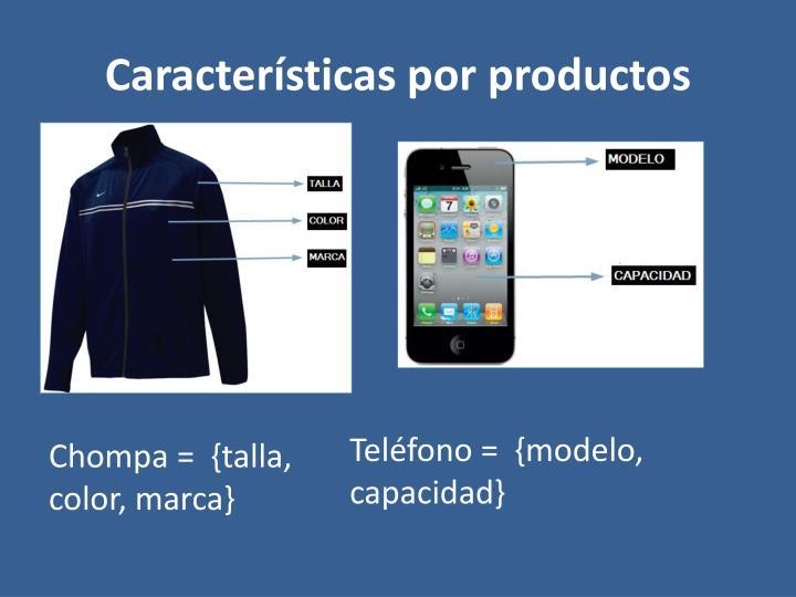 Características por productos