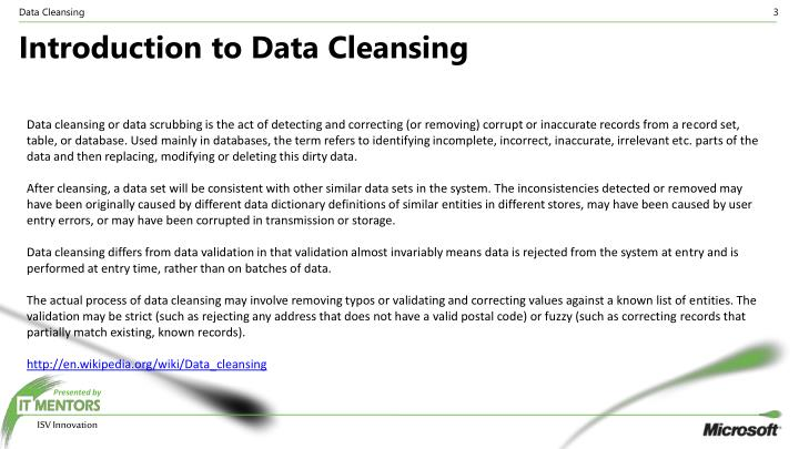 Introduction to data cleansing