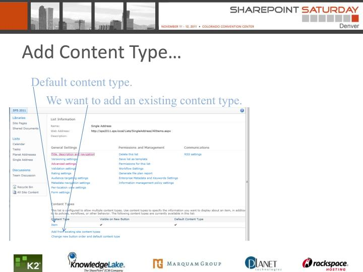Add Content Type…