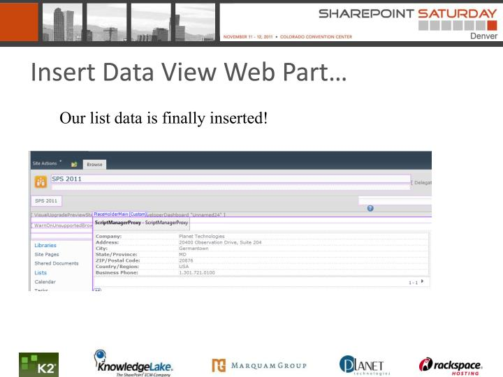 Insert Data View Web Part…