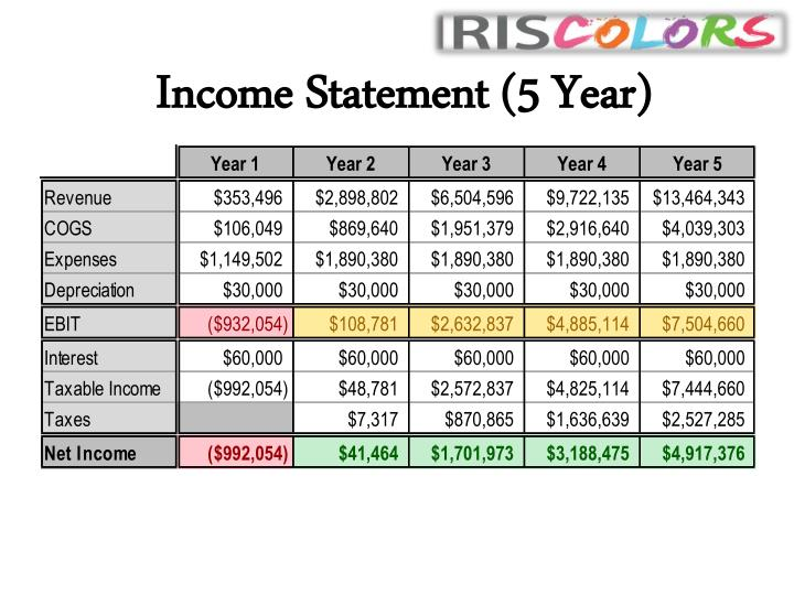 Income Statement (5 Year)