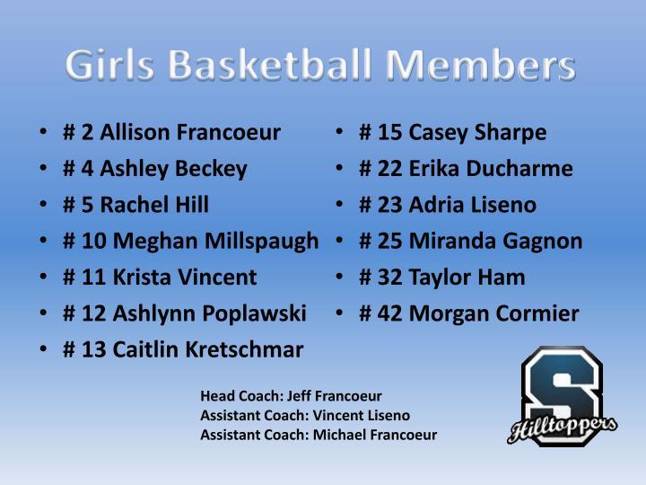 Girls Basketball Members