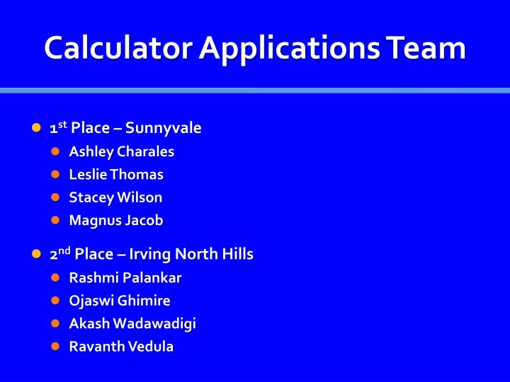 Calculator Applications Team