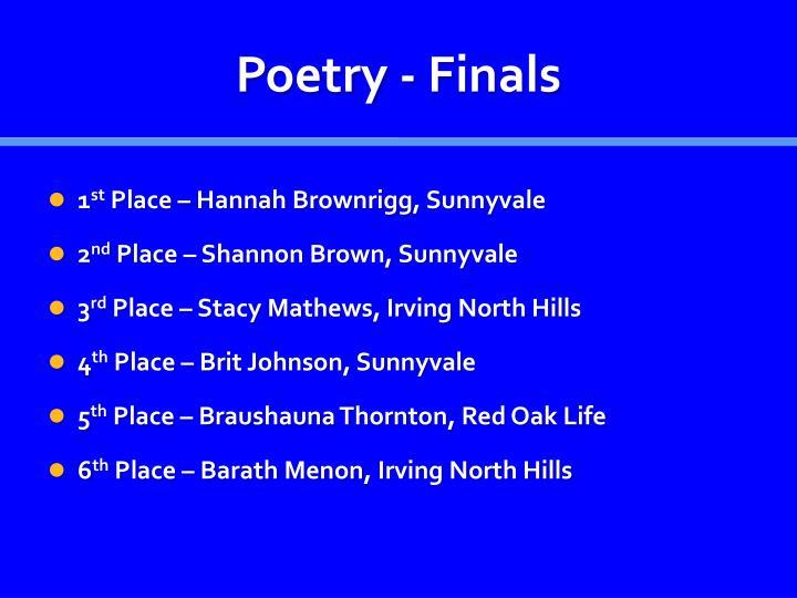 Poetry - Finals