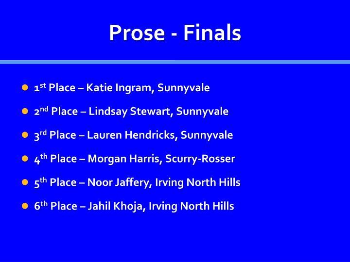Prose - Finals