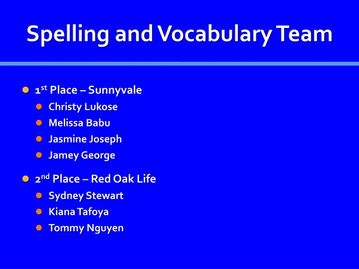 Spelling and Vocabulary Team