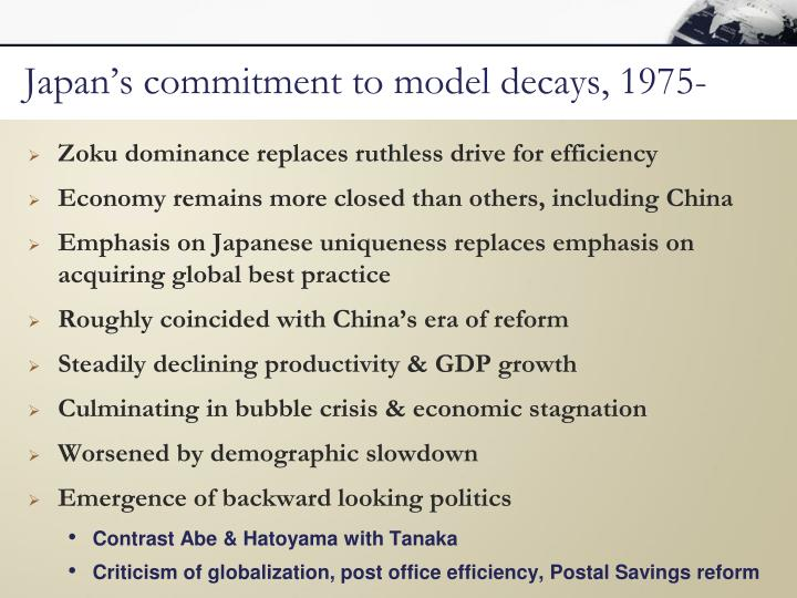 Japan's commitment to model decays, 1975-