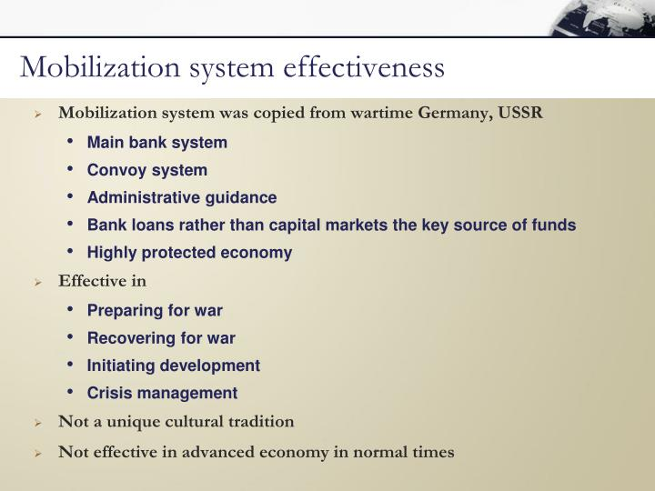 Mobilization system effectiveness