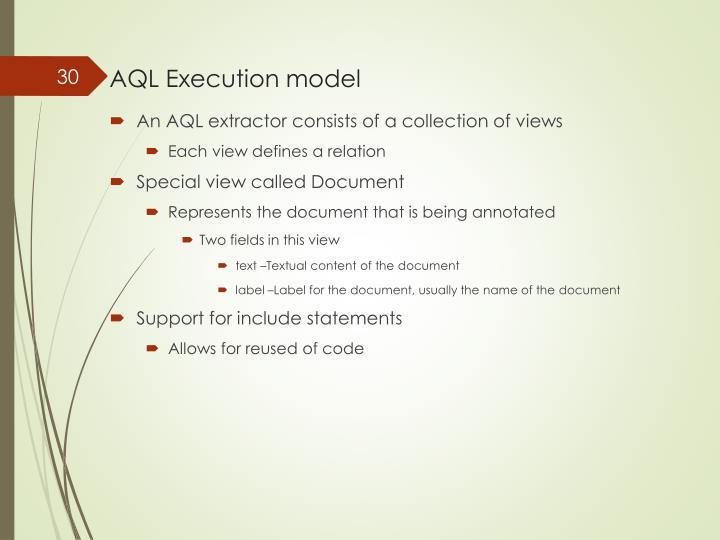 AQL Execution model