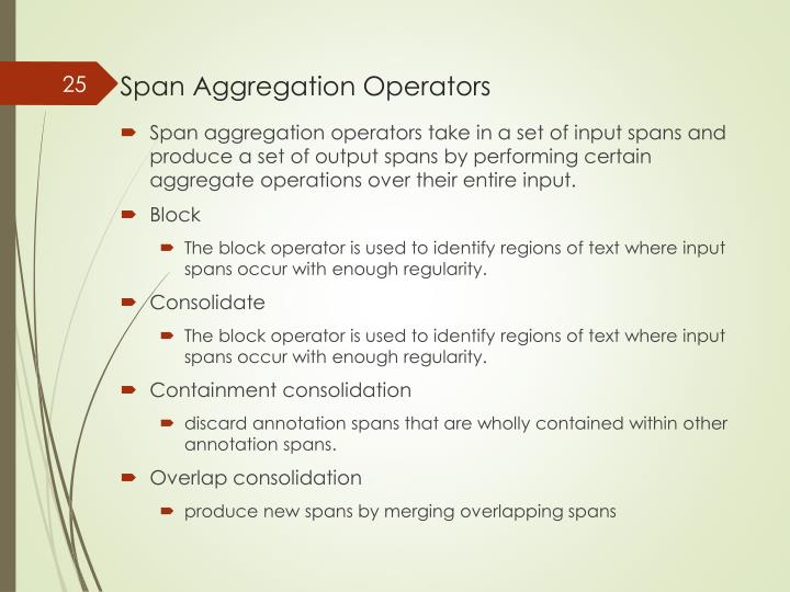 Span Aggregation Operators