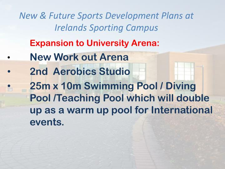 New & Future Sports Development Plans at Irelands Sporting Campus