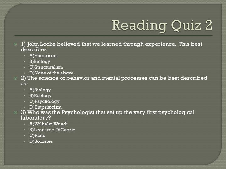 Reading Quiz 2