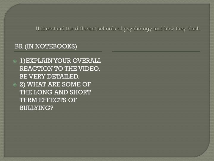 Understand the different schools of psychology and how they clash.