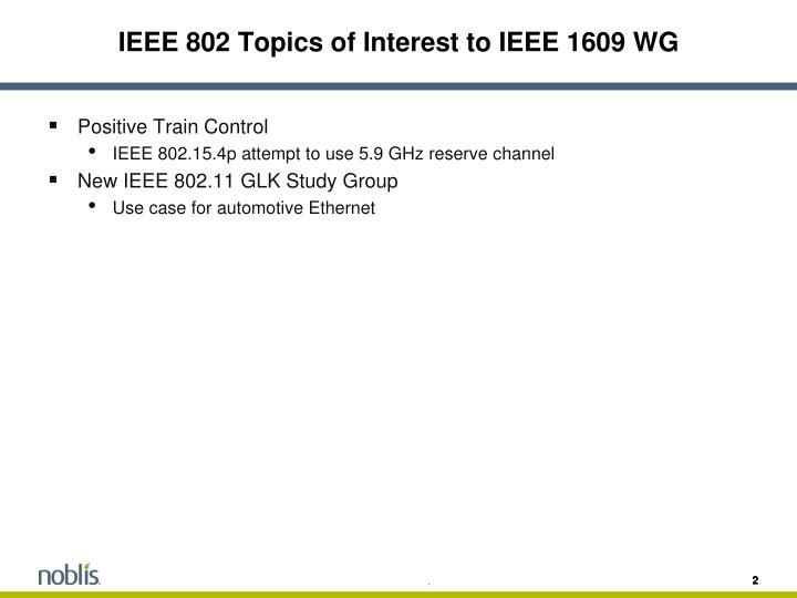IEEE 802 Topics of Interest to IEEE 1609 WG