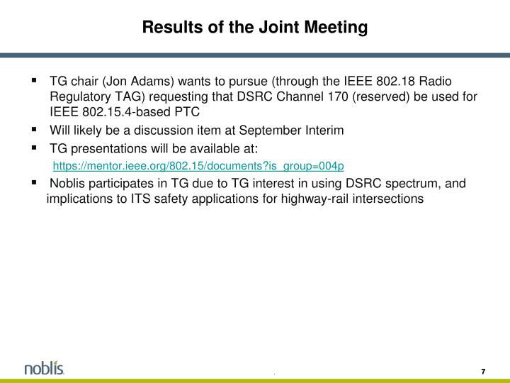 Results of the Joint Meeting