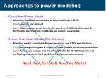 approaches to power modeling