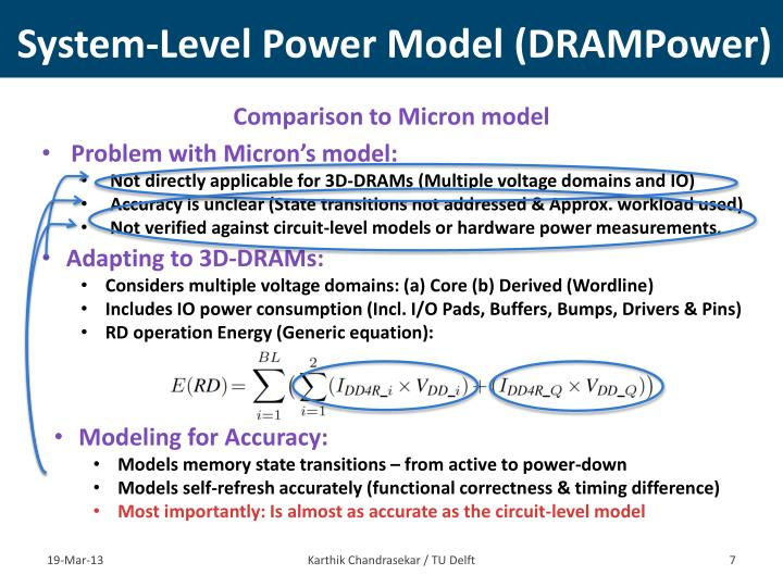 System-Level Power Model (DRAMPower)