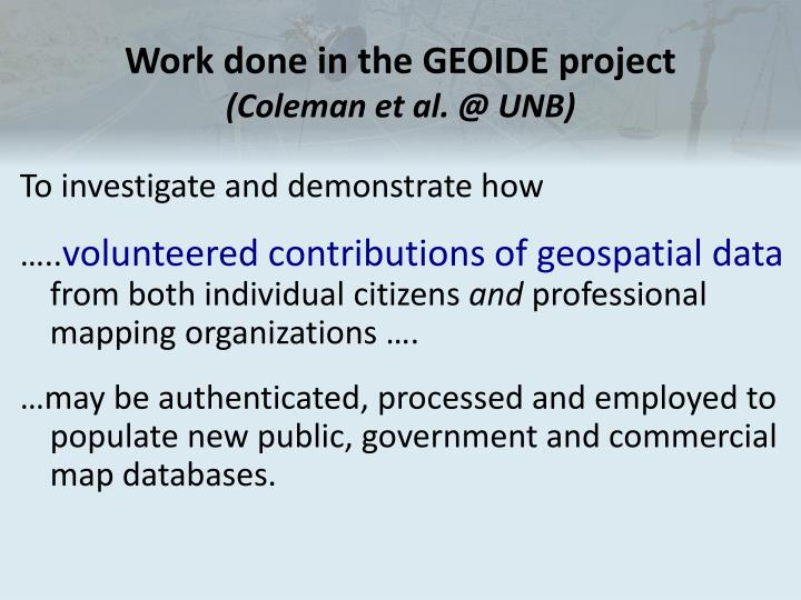 Work done in the GEOIDE project