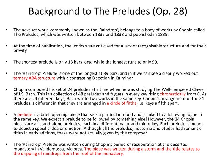 Background to The Preludes (Op. 28)