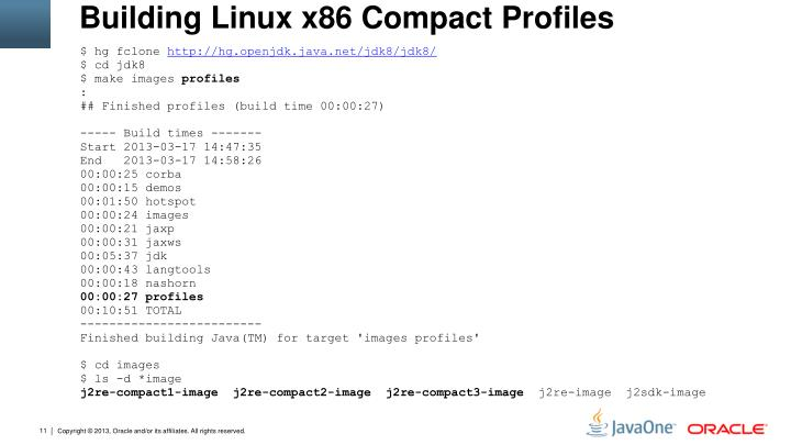 Building Linux x86 Compact Profiles
