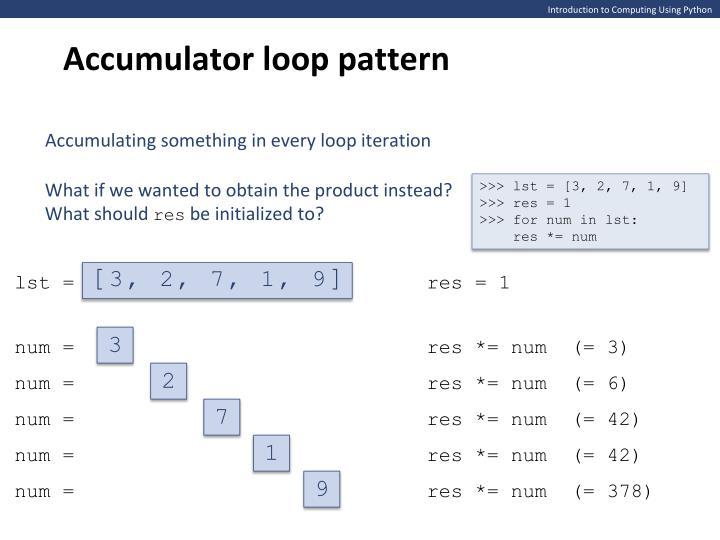 Accumulator loop pattern