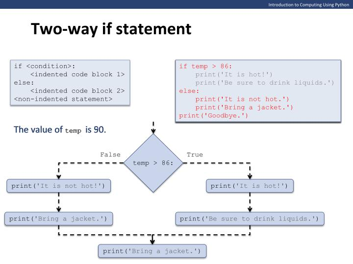 Two-way if statement