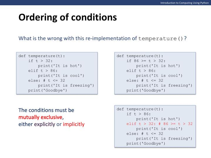Ordering of conditions