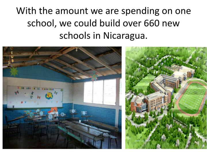 With the amount we are spending on one school, we could build over 660 new schools in Nicaragua.