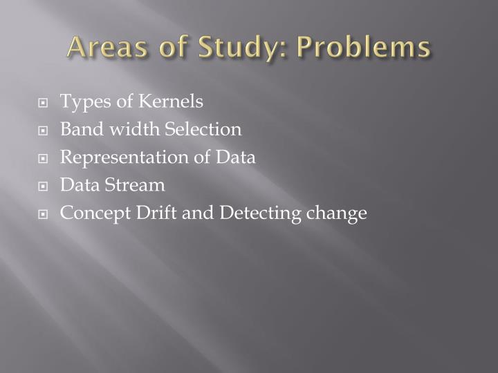 Areas of Study: Problems