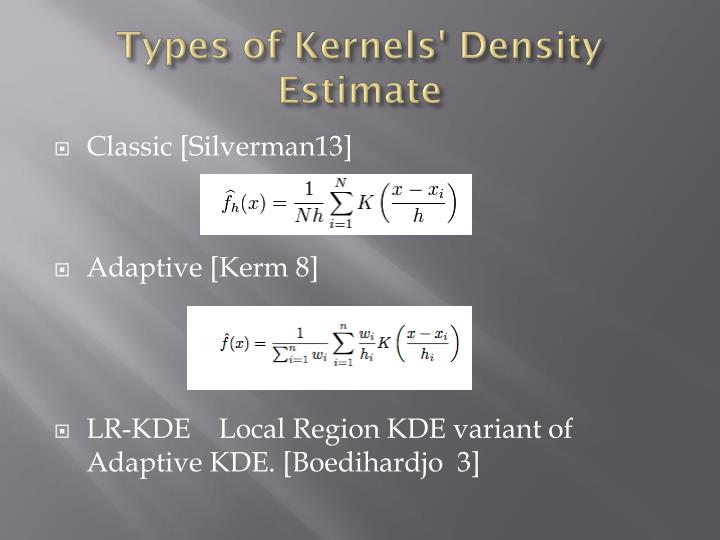 Types of Kernels' Density Estimate
