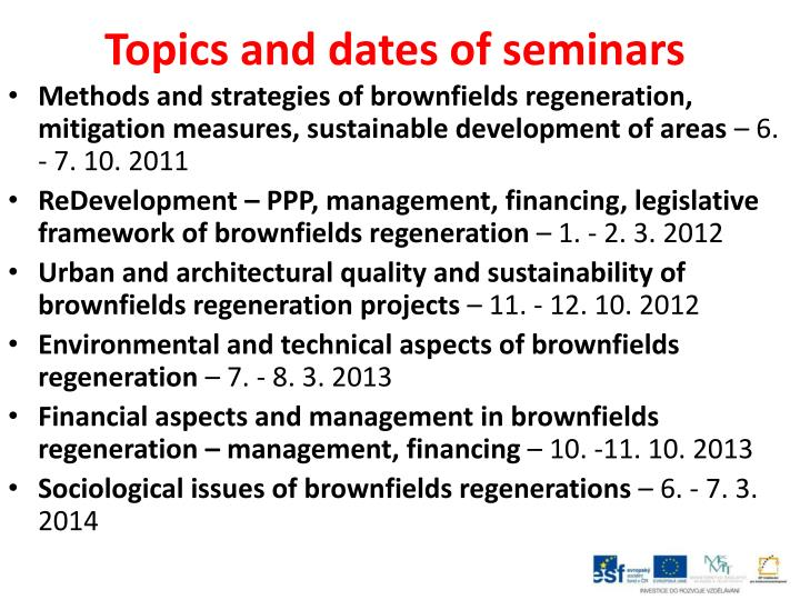 Topics and dates of seminars