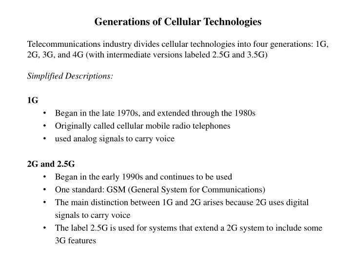 Generations of Cellular Technologies
