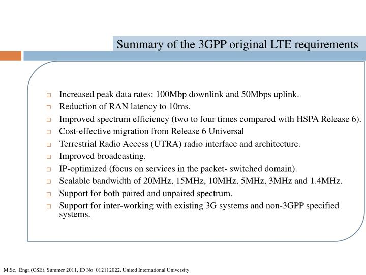 Summary of the 3GPP original LTE requirements