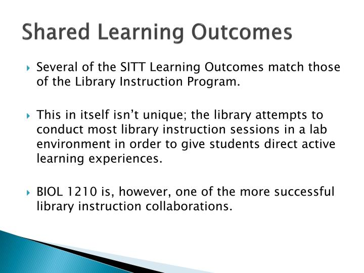 Shared Learning Outcomes