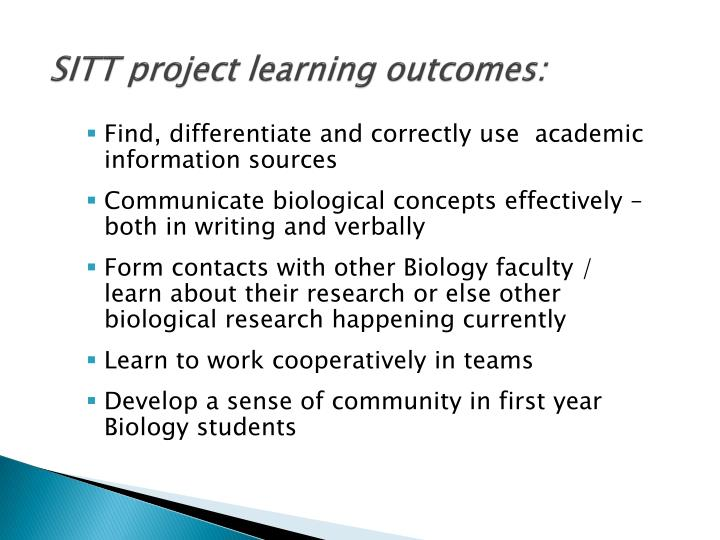 SITT project learning outcomes: