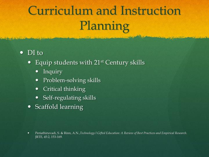 Curriculum and instruction planning