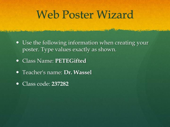 Web Poster Wizard