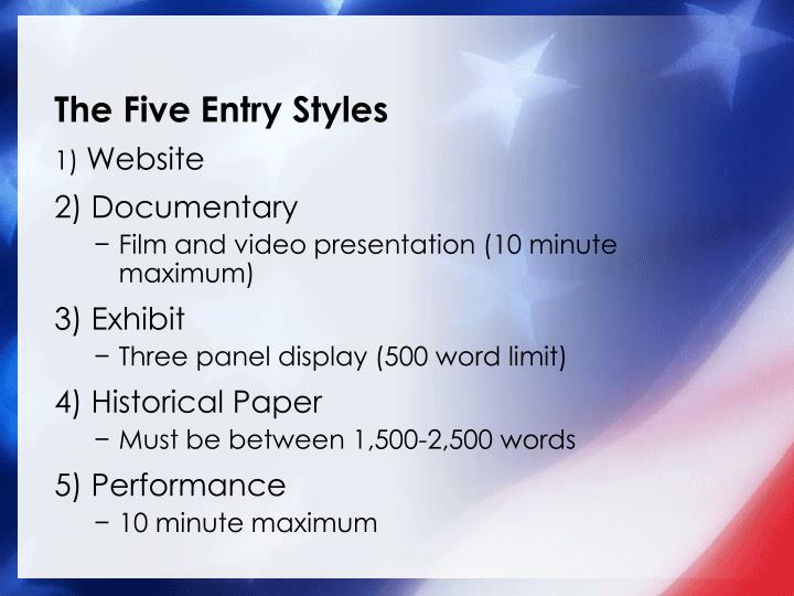 The Five Entry Styles