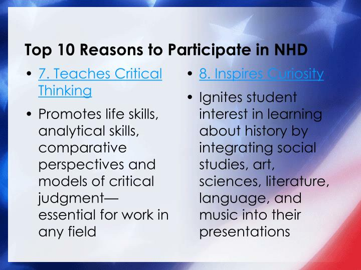 Top 10 Reasons to Participate in NHD